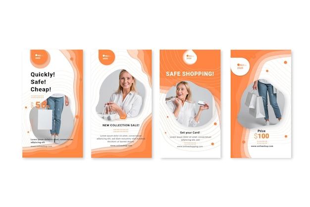 Online-shopping-service instagram geschichten vorlage Premium Vektoren