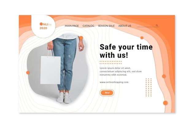 Online-shopping-service-landingpage-webvorlage Kostenlosen Vektoren