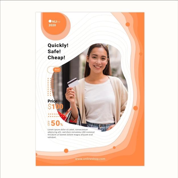 Online-shopping-service poster vorlage Kostenlosen Vektoren