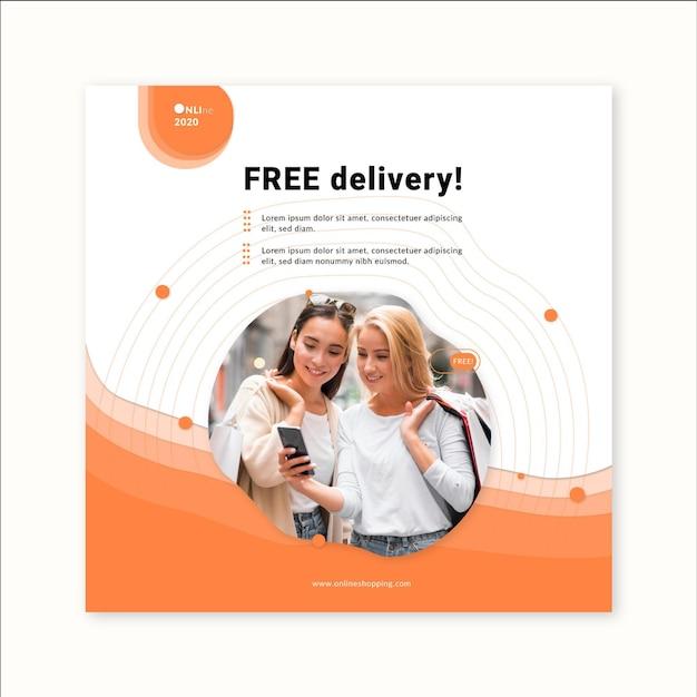 Online-shopping-service quadratische flyer-vorlage Premium Vektoren