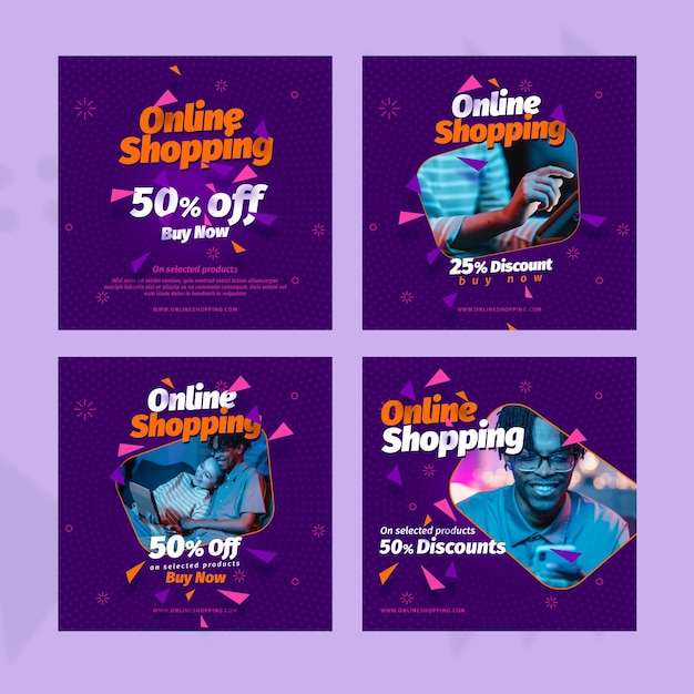 Online-shopping social media beiträge vorlage Kostenlosen Vektoren