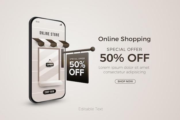 Online-shopping-sonderangebot banner vorlage im web oder mobile app Premium Vektoren