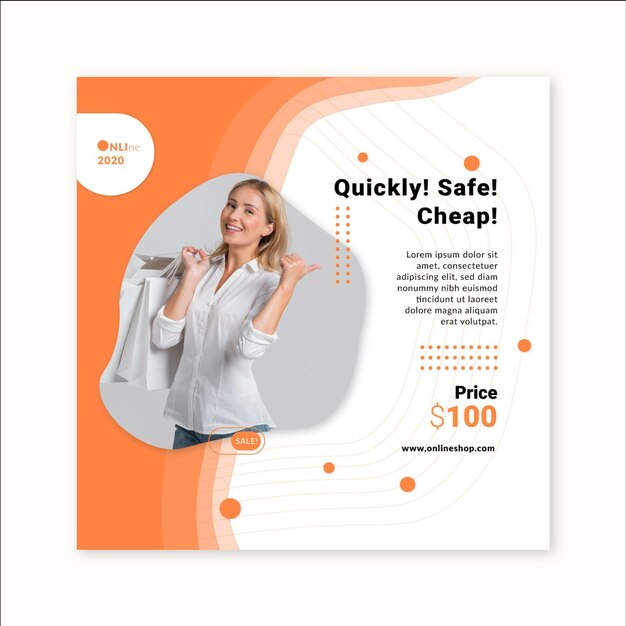 Online-shopping square flyer vorlage Premium Vektoren