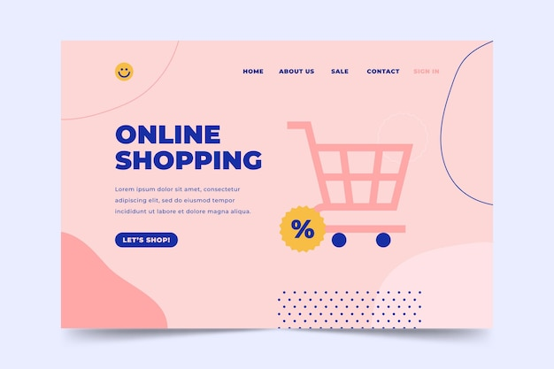 Online-shopping- und warenkorb-landingpage Kostenlosen Vektoren