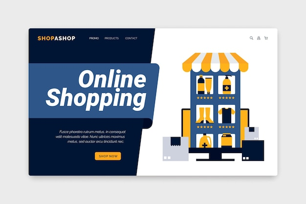 Online-shopping-webtemplate-konzept Kostenlosen Vektoren