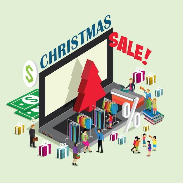 Online-shopping-weihnachtsverkauf Premium Vektoren