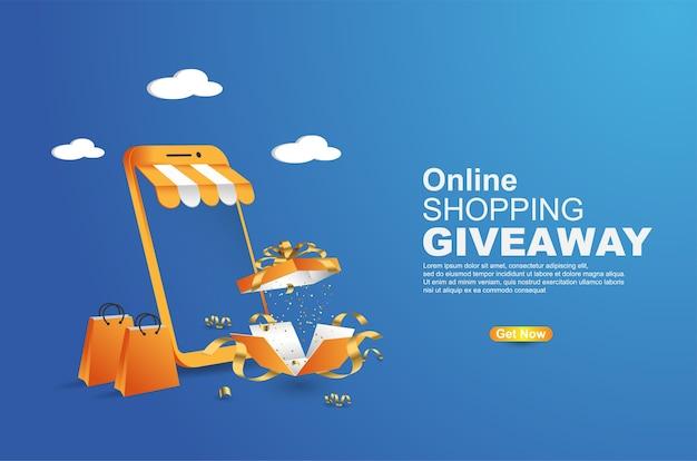 Online-shopping-werbegeschenk auf mobile banner-vorlage Premium Vektoren