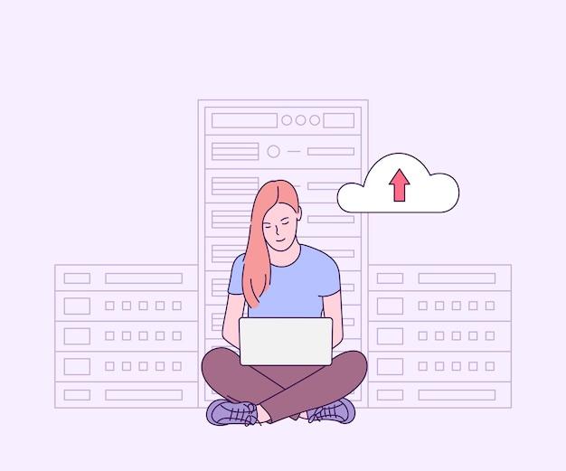 Online-sicherheit, datenschutz, antivirensoftware, cloud-hosting-konzept. it-administrator der jungen frau, der im serverraum für hardwarediagnose arbeitet. Premium Vektoren