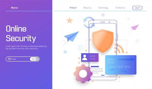 Online-sicherheitstechnologie, schutz persönlicher daten und sicheres banking Premium Vektoren