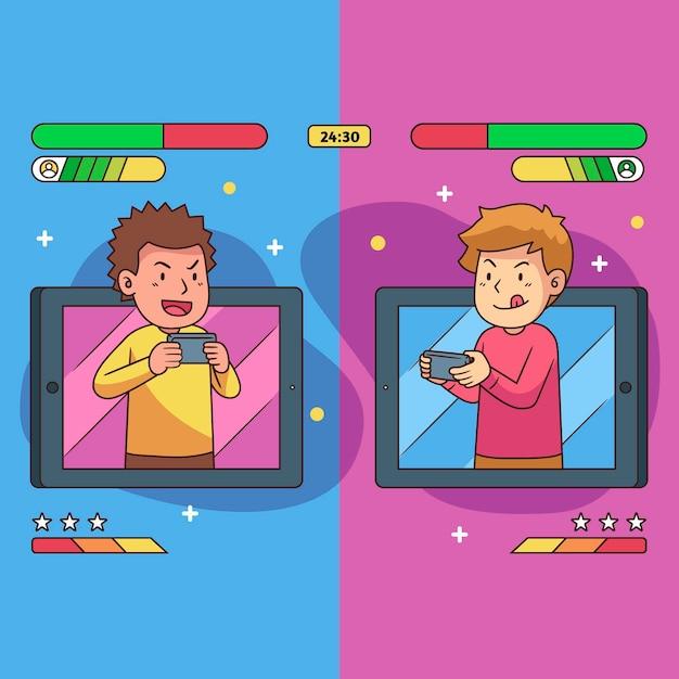 Online-spiele illustration konzept Kostenlosen Vektoren