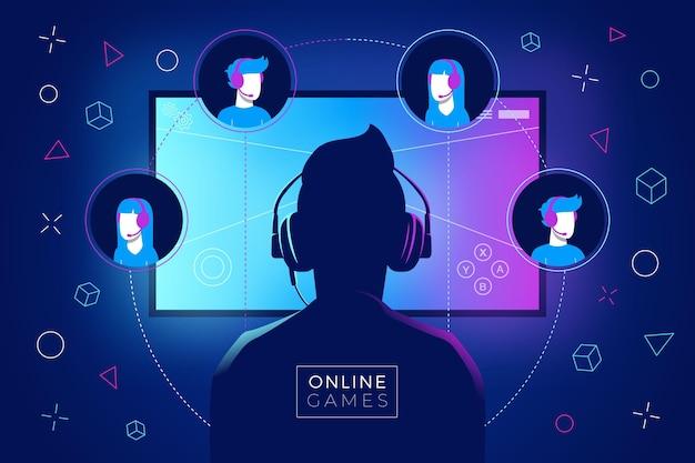 Online-spiele-konzept mit mann Premium Vektoren