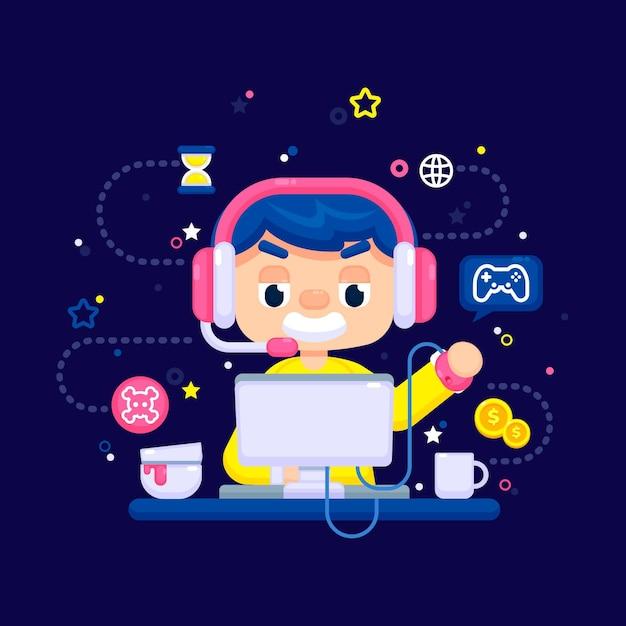 Online-spiele-thema Kostenlosen Vektoren