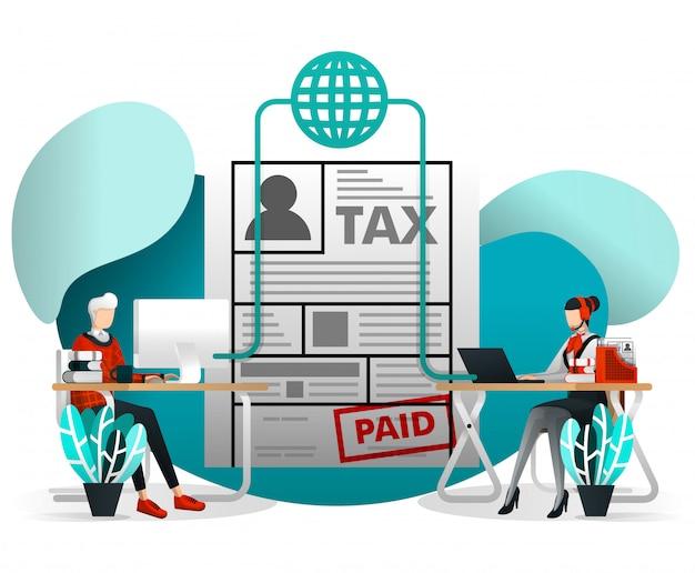 Online steuerformular einreichung mit flat cartoon Premium Vektoren