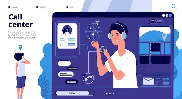 Online-support-konzept. kunden im call center chatten mit dem betreiber, der berater hilft dem kunden. 24x7 support vektor landing page Premium Vektoren