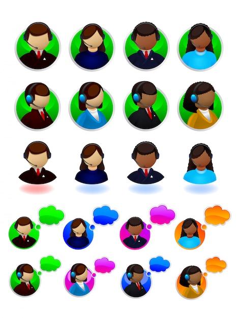 Online-support-symbole festgelegt Premium Vektoren