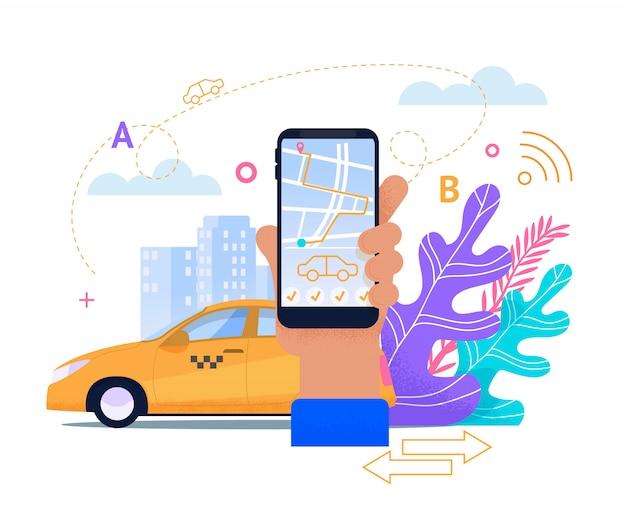 Online-taxi-handy-service. Premium Vektoren
