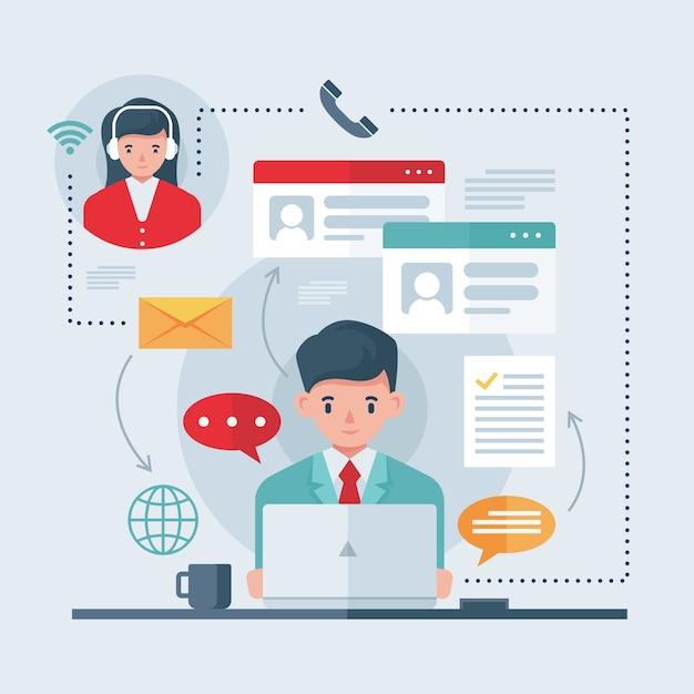 Online-telearbeitskonzept Kostenlosen Vektoren