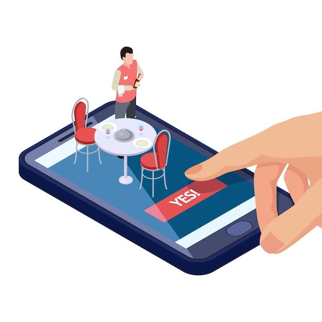 Online-tisch in restaurant oder café reservierung mit mobiler app Premium Vektoren