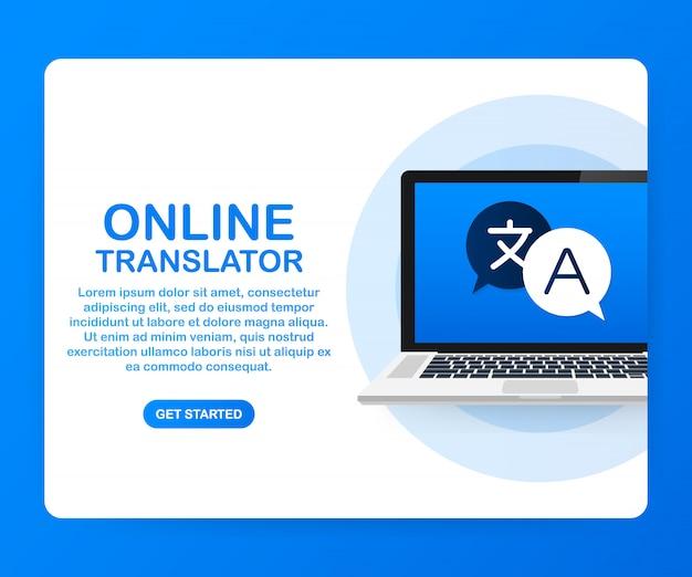 Online-übersetzervorlage Premium Vektoren