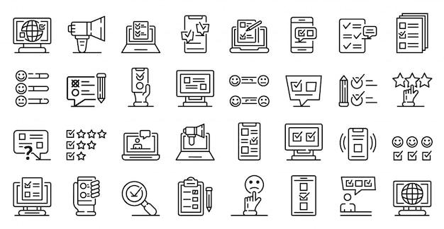 Online-umfrage icons set, umriss-stil Premium Vektoren