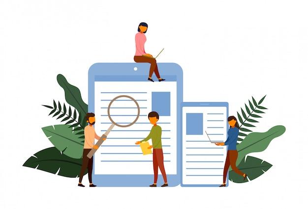 Online-umfragekonzeptkonzept mit charakterillustration Premium Vektoren