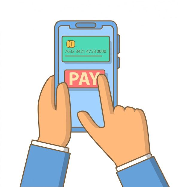 Online- und mobile-payment-hand hält smartphone. Premium Vektoren