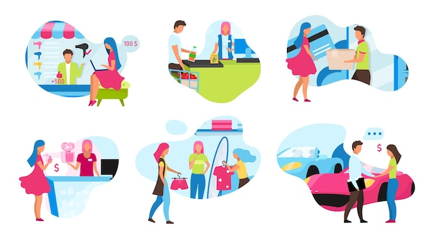 Online- und shop-shopping-flat-konzept-icons setzen illustration Premium Vektoren