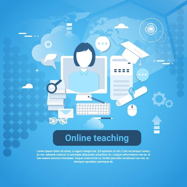 Online-unterrichts-web-fahne mit kopienraum auf blauem hintergrund Premium Vektoren
