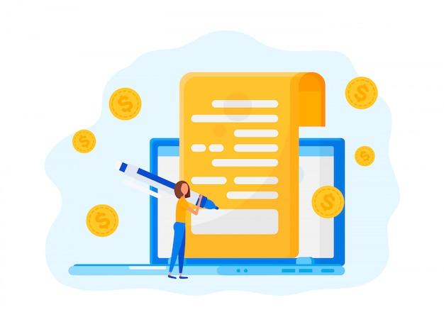 Online-vertragsabschluss Premium Vektoren