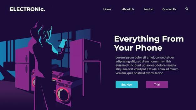 Online-webillustration des elektronischen designthemas Premium Vektoren