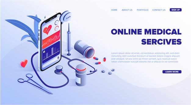 Online-webvorlage für medizinische dienste Premium Vektoren