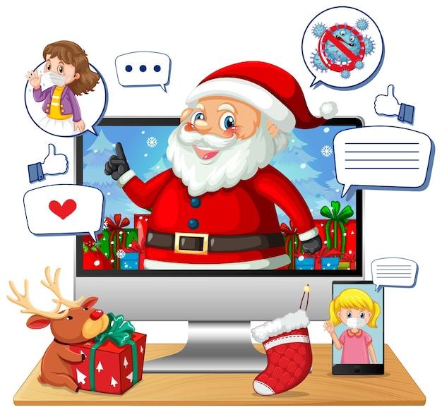 Online-weihnachtsfeier über mobile geräte Kostenlosen Vektoren