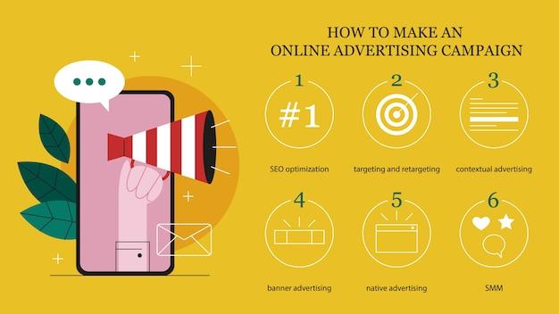 Online-werbekonzept. so erstellen sie eine anleitung für eine online-werbekampagne. marketing-infografiken. kommerzielle werbung und kommunikation mit dem kunden. illustration Premium Vektoren