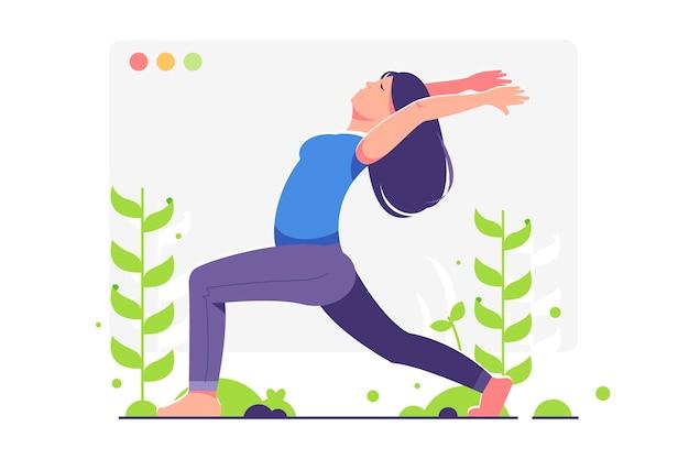 Online yoga klassenkonzept mit frau Kostenlosen Vektoren