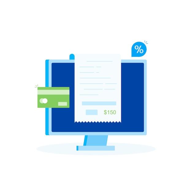 Online-zahlung am computer, finanzbuchhaltung, elektronische zahlungsbestätigung mit digitaler quittung. moderner flacher stil Premium Vektoren