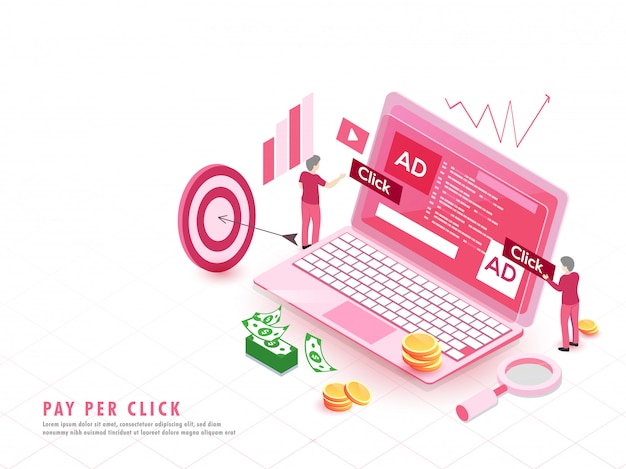 Online-zahlung oder pay-per-click-konzept. Premium Vektoren