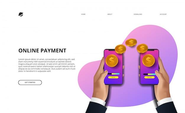Online-zahlungslandungsseitenillustrationsgeschäftsfinanz-e-commerce-konzept Premium Vektoren