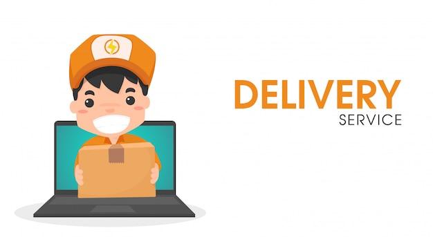 Online-zustellpersonal per computer. Premium Vektoren