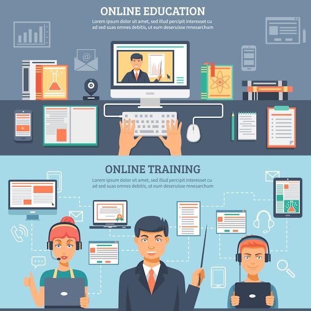 Onlineausbildungs-ausbildungs-fahnenset Kostenlosen Vektoren