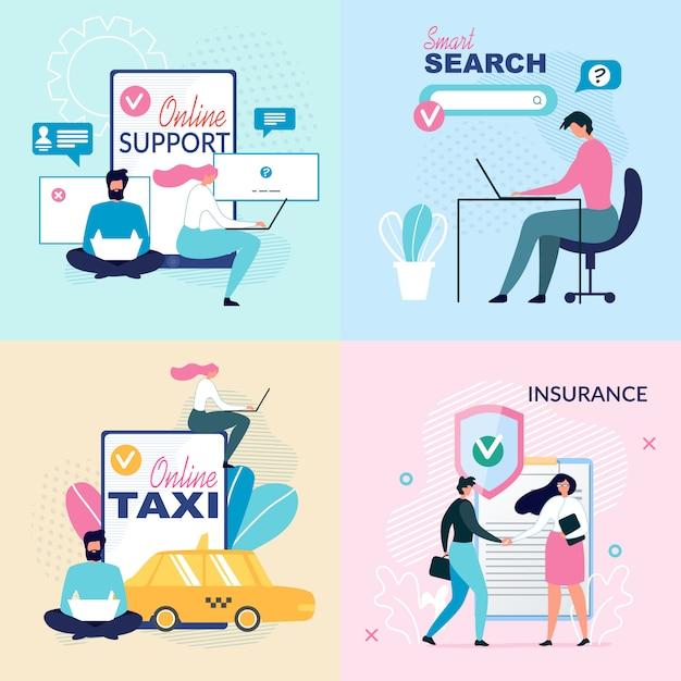 Onlinedienste und virtueller support ad poster set Premium Vektoren