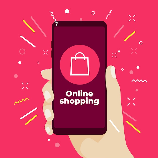 Onlineeinkaufskonzept mit der hand, die smartphone hält. Premium Vektoren
