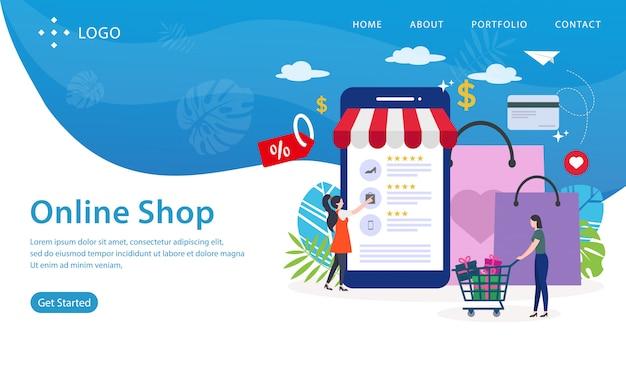 Onlineshop-landing page, website-schablone, einfach zu redigieren und besonders anzufertigen, vektorillustration Premium Vektoren