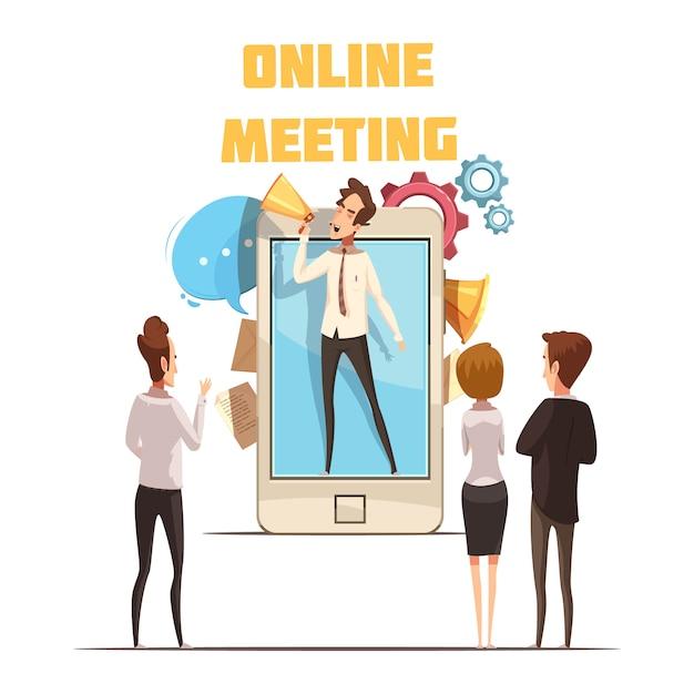Onlinesitzungskonzept mit smartphoneschirm und leutekarikatur vector illustration Kostenlosen Vektoren