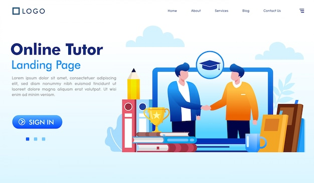 Onlinetutorlandungsseitenwebsite-illustrationsvektor Premium Vektoren