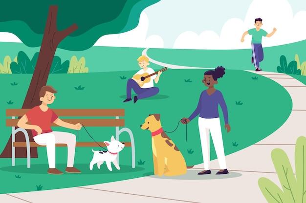 Open air aktivitäten im park Kostenlosen Vektoren