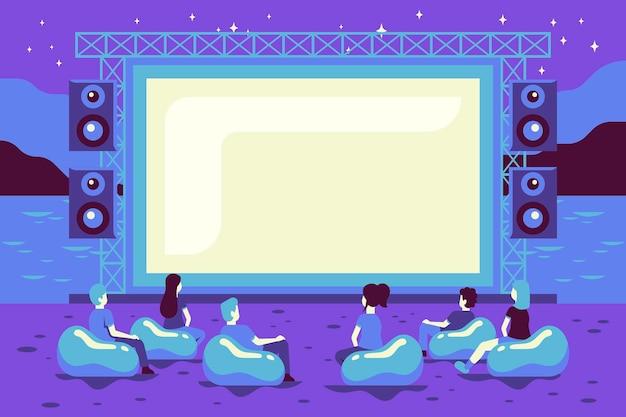 Open air kino illustration Kostenlosen Vektoren