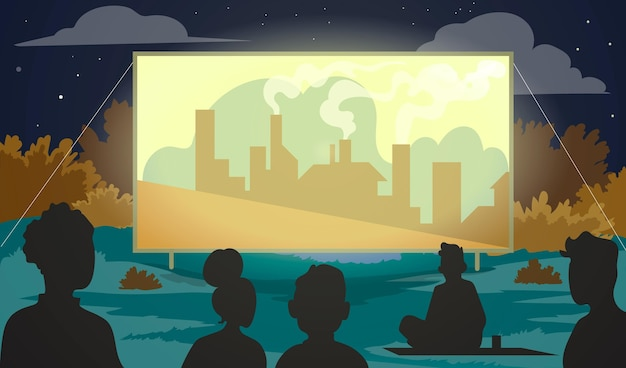 Open-air-kino Kostenlosen Vektoren