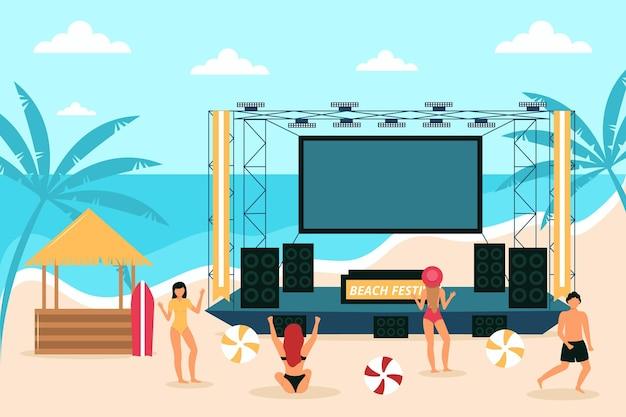 Open air konzert am strand Kostenlosen Vektoren