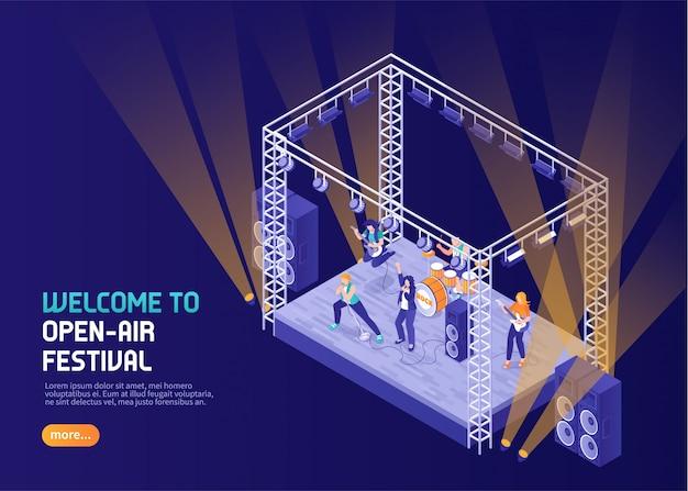 Open air musik festival farbe mit musikern auf der bühne im scheinwerferlicht isometrisch auftreten Kostenlosen Vektoren