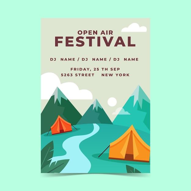 Open air musikfestival poster vorlage mit bergen Kostenlosen Vektoren
